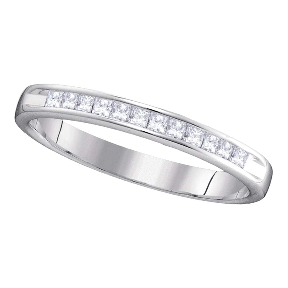 14kt White Gold Womens Round Diamond 3mm Wedding Band Ring 1/4 Cttw