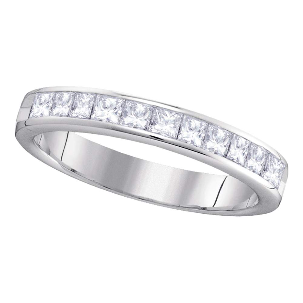 14kt White Gold Womens Princess Diamond 4mm Wedding Band Ring 3/4 Cttw