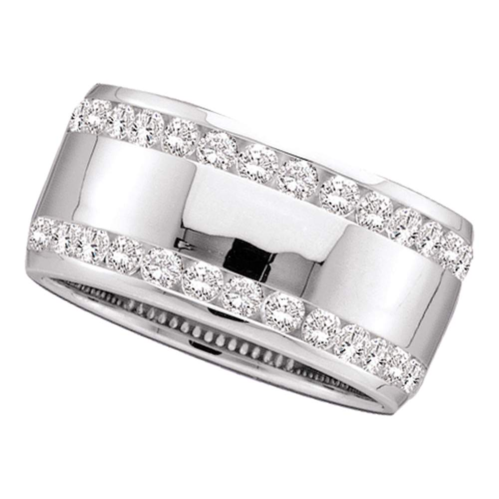 14kt White Gold Womens Round Channel-set Diamond Double Row Wedding Band 1.00 Cttw