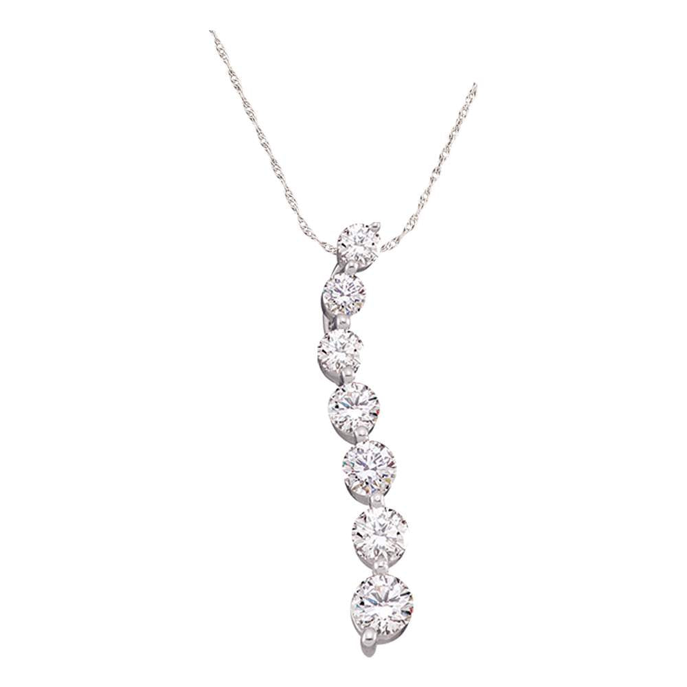 10kt White Gold Womens Round Pave-set Diamond Graduated Journey Pendant 1/4 Cttw