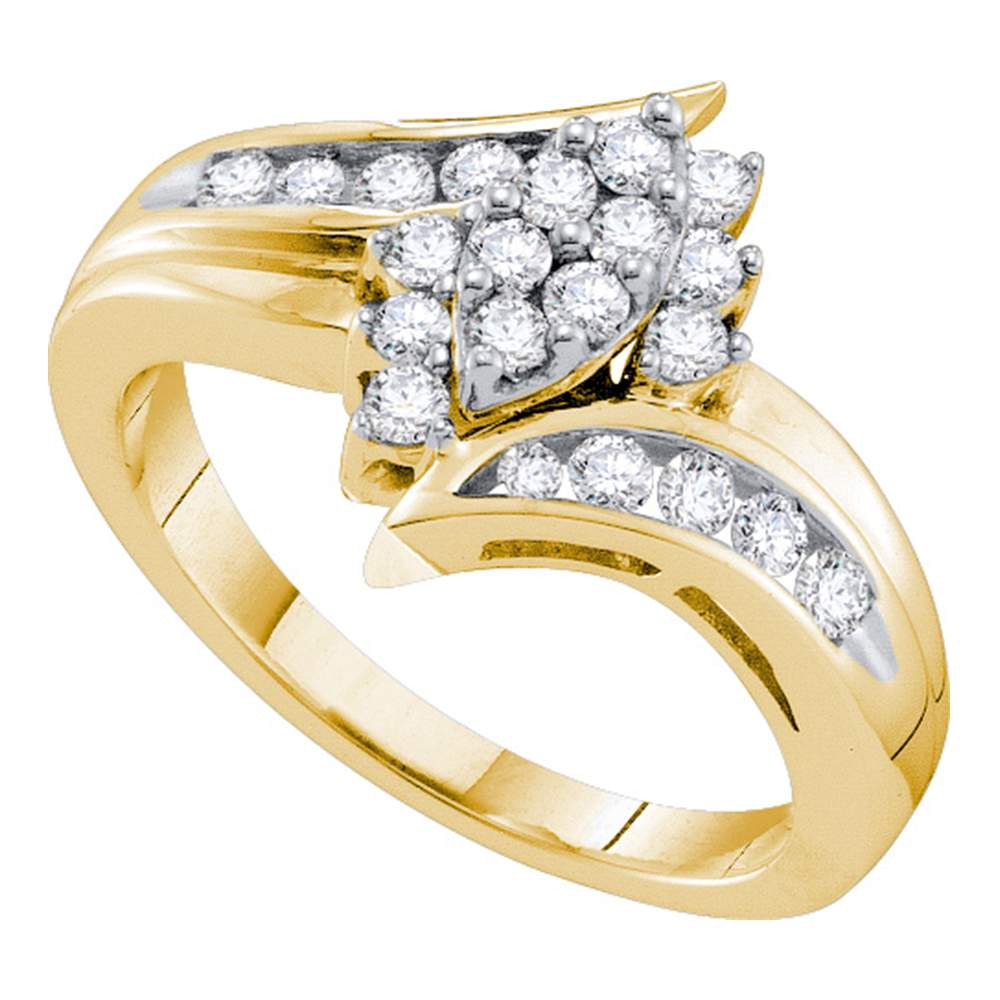 14kt Yellow Gold Womens Round Diamond Marquise-shape Cluster Ring 1/2 Cttw