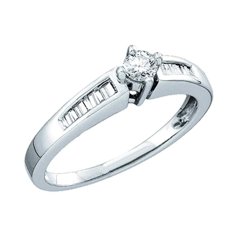 10kt White Gold Womens Round Diamond Solitaire Bridal Wedding Engagement Ring 1/4 Cttw