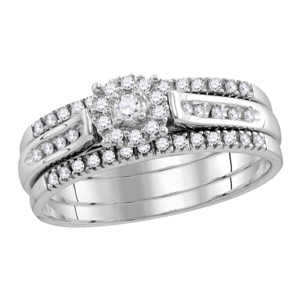 14kt White Gold Womens Round Diamond 3-Piece Bridal Wedding Engagement Ring Band Set 1/4 Cttw