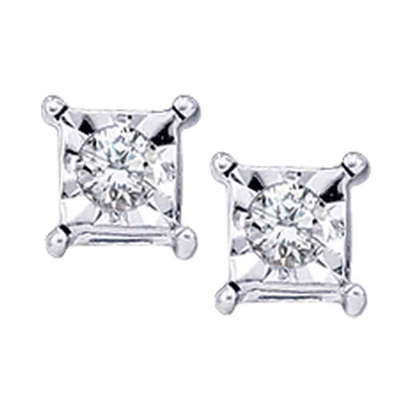 10kt White Gold Womens Round Diamond Solitaire Square Stud Earrings 1/20 Cttw