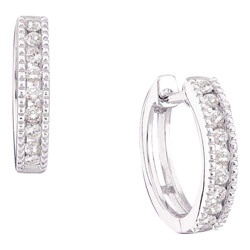 10kt White Gold Womens Round Channel-set Diamond Milgrain Hoop Earrings 1/4 Cttw