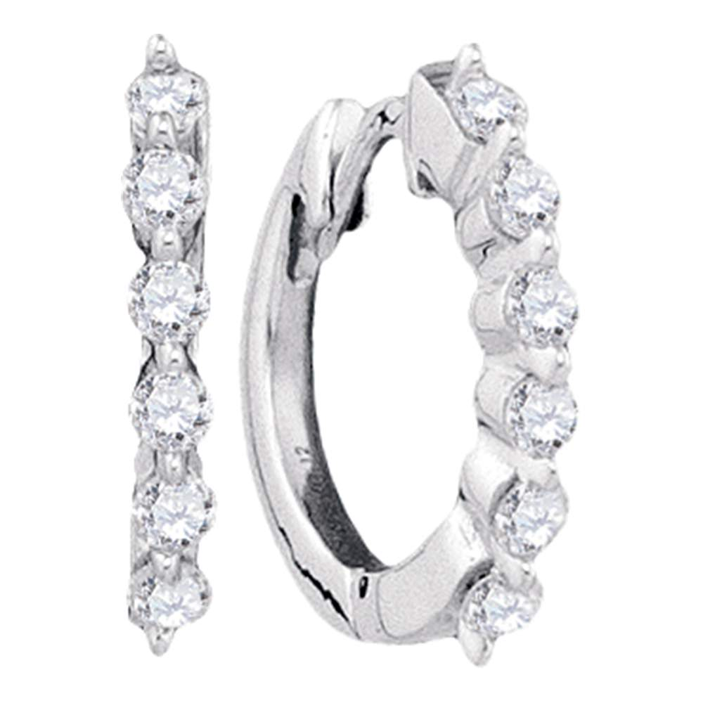 14kt White Gold Womens Round Pave-set Diamond Hoop Earrings 1/4 Cttw