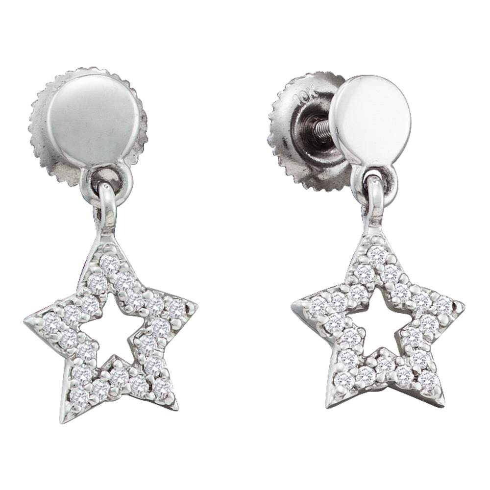 10kt White Gold Womens Round Diamond Star Dangle Screwback Earrings 1/5 Cttw
