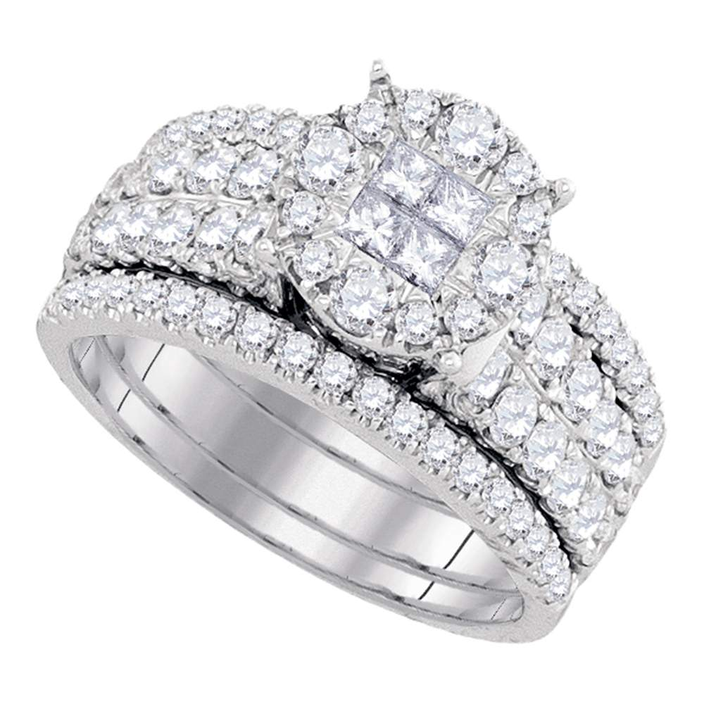 14kt White Gold Womens Princess Diamond Soleil Bridal Wedding Engagement Ring Band Set 1-1/2 Cttw