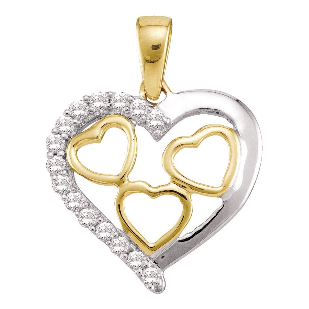10kt Yellow Gold Womens Round Diamond Two-tone Nested Heart Pendant 1/5 Cttw