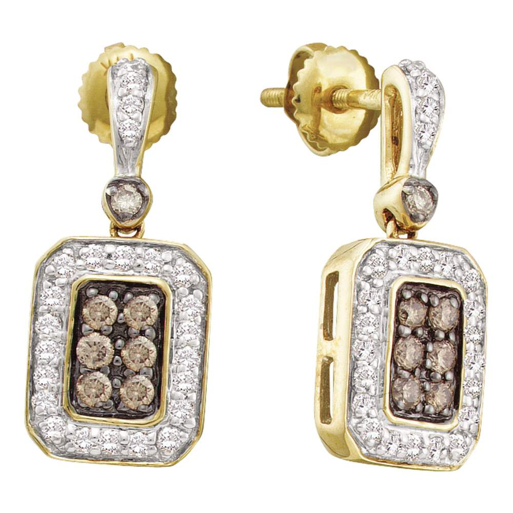 14kt Yellow Gold Womens Round Cognac-brown Color Enhanced Diamond Rectangle Dangle Screwback Earrings 1/4 Cttw