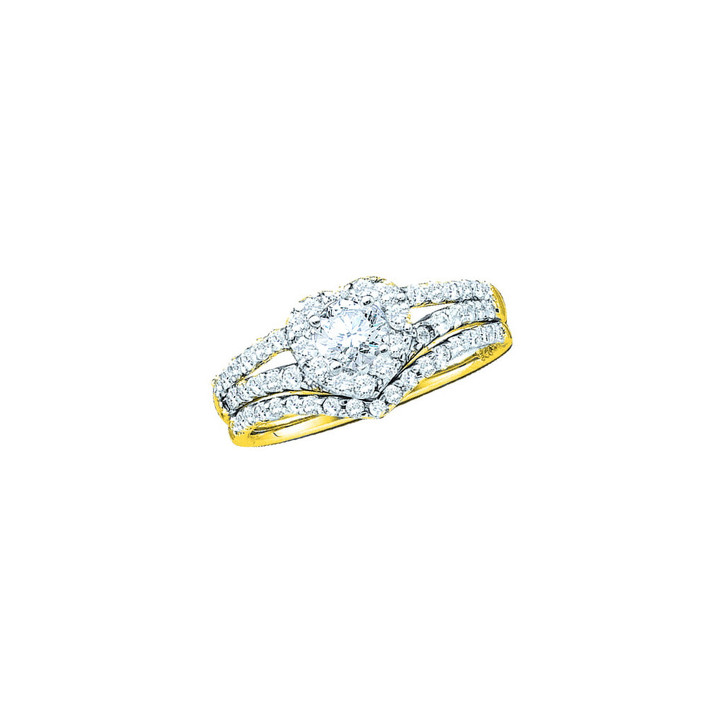 14kt Yellow Gold Womens Round Diamond Heart Bridal Wedding Engagement Ring Band Set 1/2 Cttw