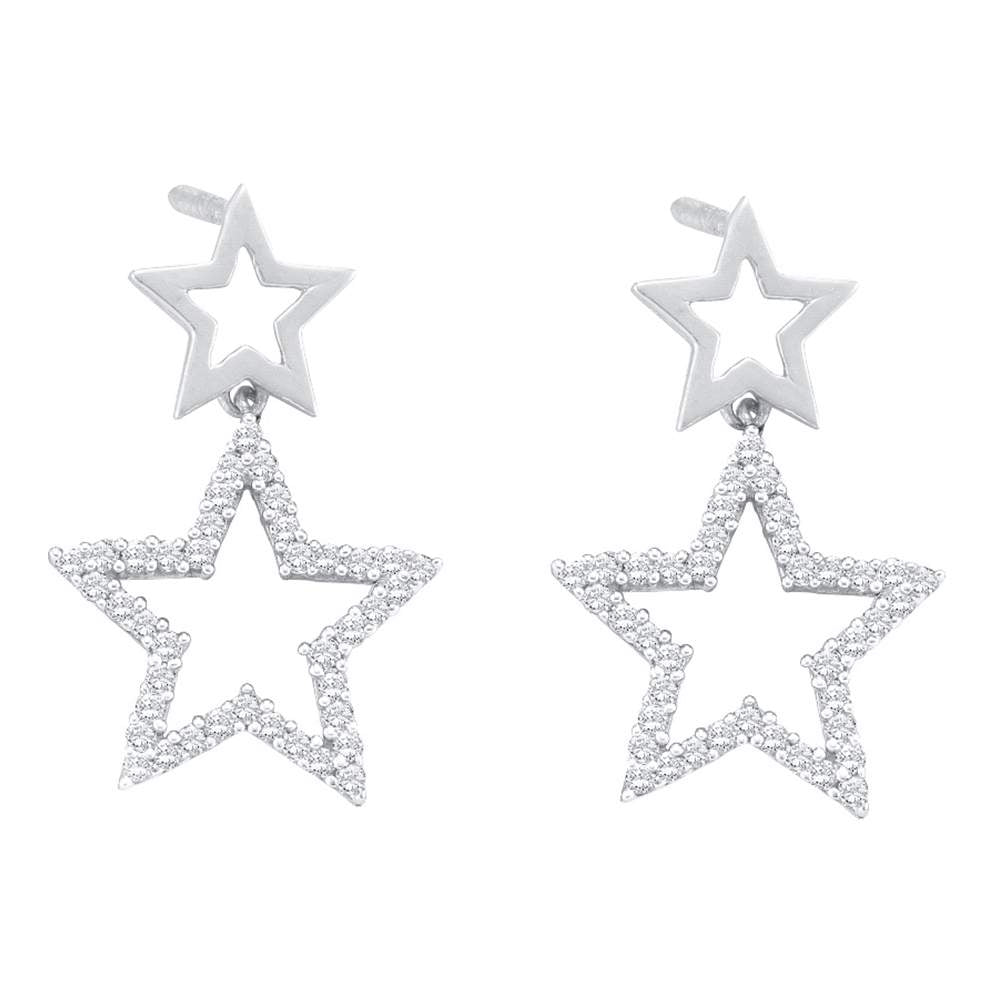 10kt White Gold Womens Round Diamond Double Star Dangle Screwback Earrings 1/4 Cttw