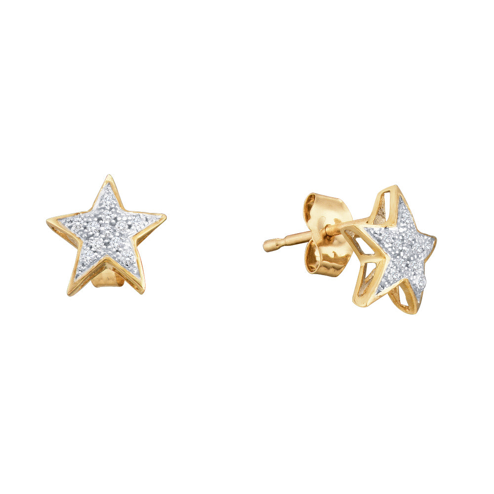 10kt Yellow Gold Womens Round Diamond Star Cluster Screwback Earrings 1/20 Cttw