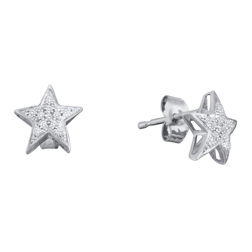 10kt White Gold Womens Round Diamond Star Cluster Screwback Earrings 1/20 Cttw