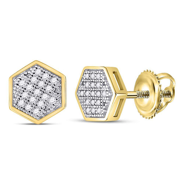 10kt Yellow Gold Mens Round Diamond Hexagon Cluster Stud Earrings 1/10 Cttw