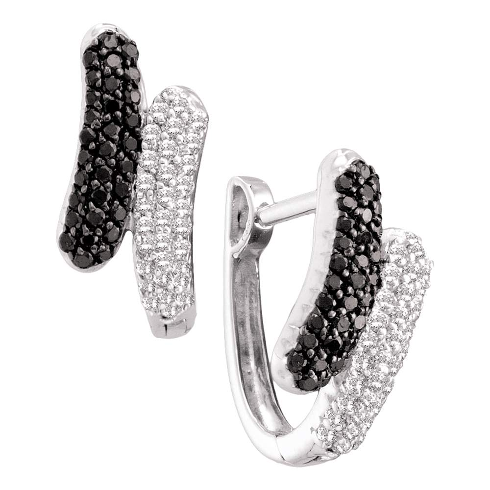 14kt White Gold Womens Round Black Color Enhanced Diamond Bypass Hoop Earrings 1/2 Cttw