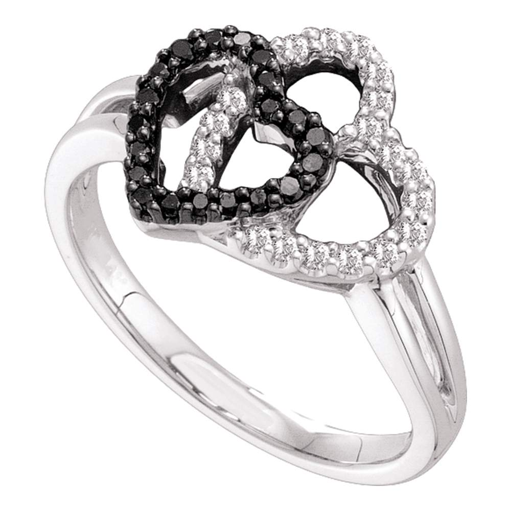 14kt White Gold Womens Round Black Color Enhanced Diamond Double Heart Ring 1/4 Cttw