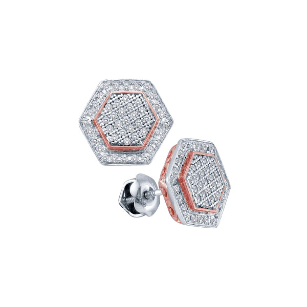 10kt White Gold Womens Round Diamond Cluster Rose-tone Hexagon Stud Earrings 1/3 Cttw