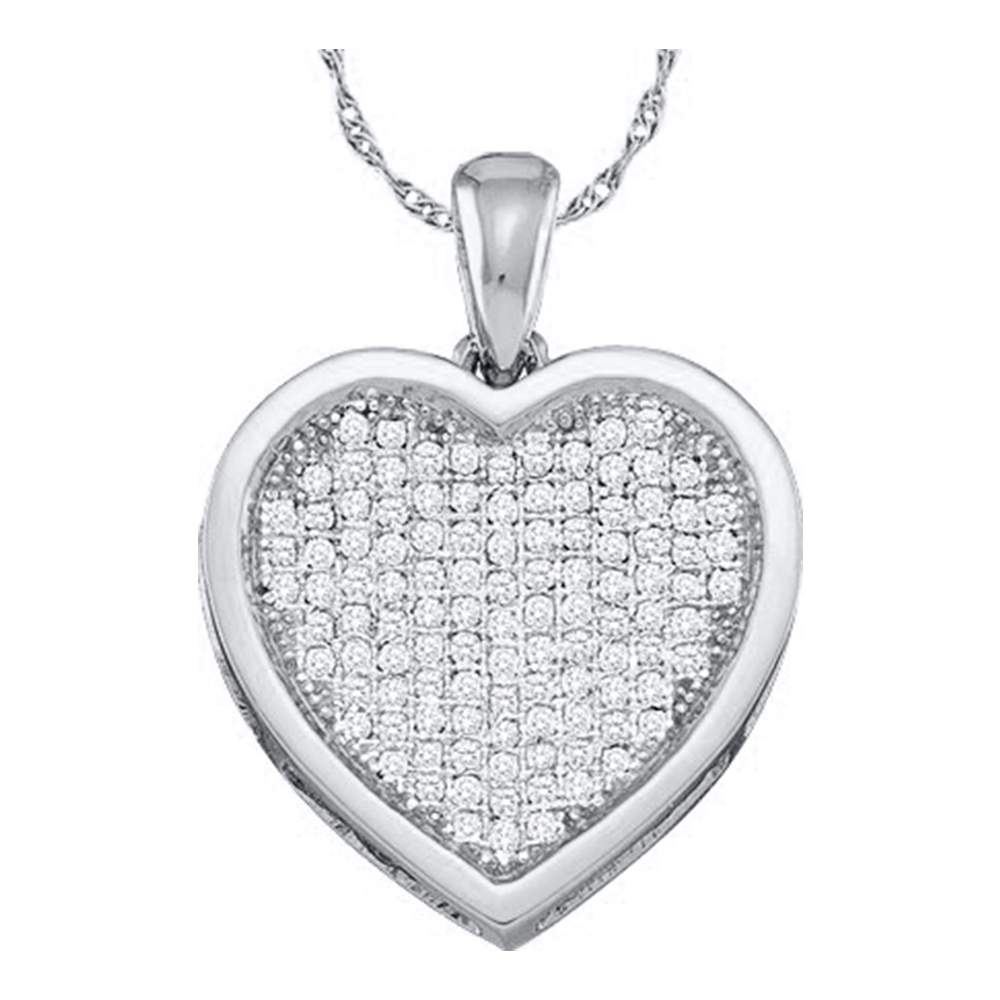 10kt White Gold Womens Round Diamond Cluster Small Heart Love Pendant 1/20 Cttw