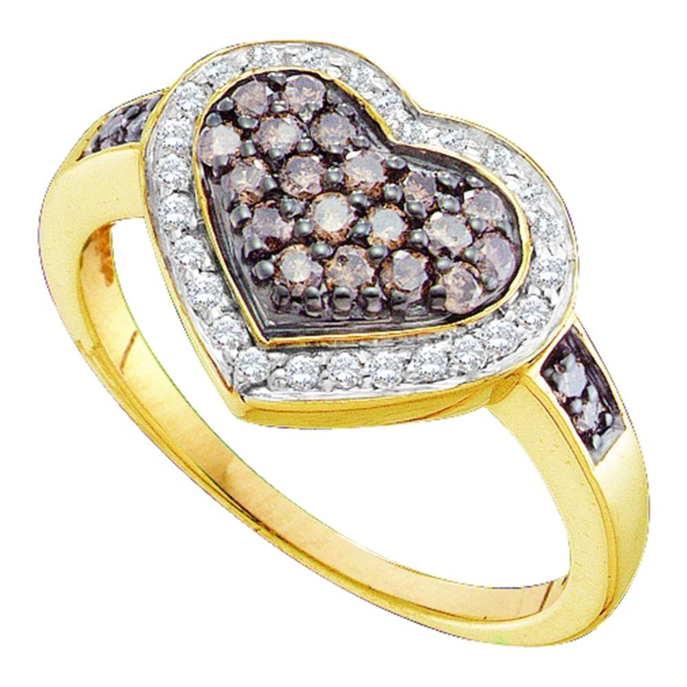 14kt Yellow Gold Womens Round Cognac-brown Color Enhanced Diamond Framed Heart Cluster Ring 1/2 Cttw