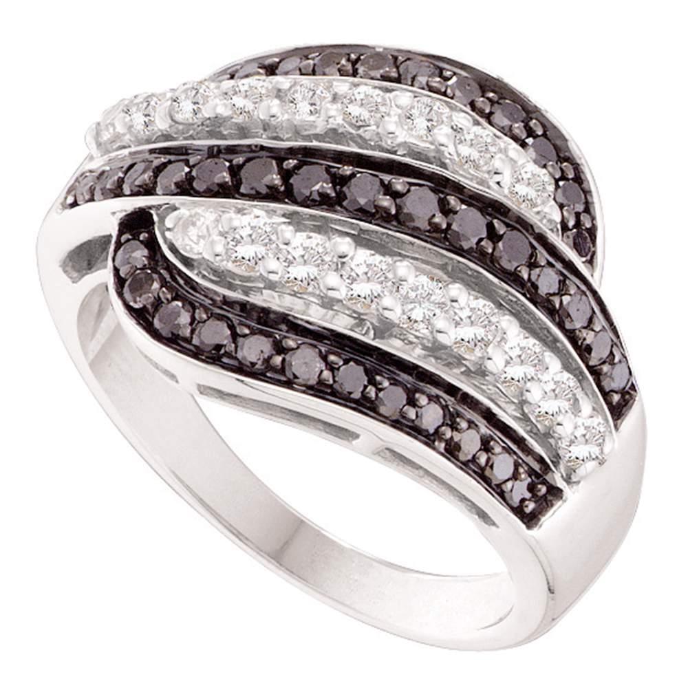 14kt White Gold Womens Round Black Color Enhanced Diamond Five Row Striped Band Ring 7/8 Cttw