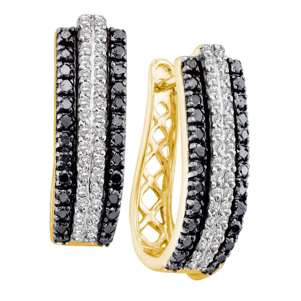 14kt Yellow Gold Womens Round Black Color Enhanced Diamond Triple Row Striped Hoop Earrings 1.00 Cttw