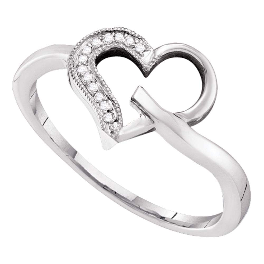 10kt White Gold Womens Round Diamond Heart Outline Ring 1/20 Cttw