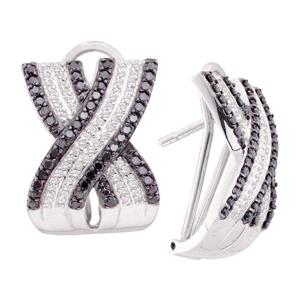 14kt White Gold Womens Round Black Color Enhanced Diamond Crossover Hoop Earrings 1-1/2 Cttw