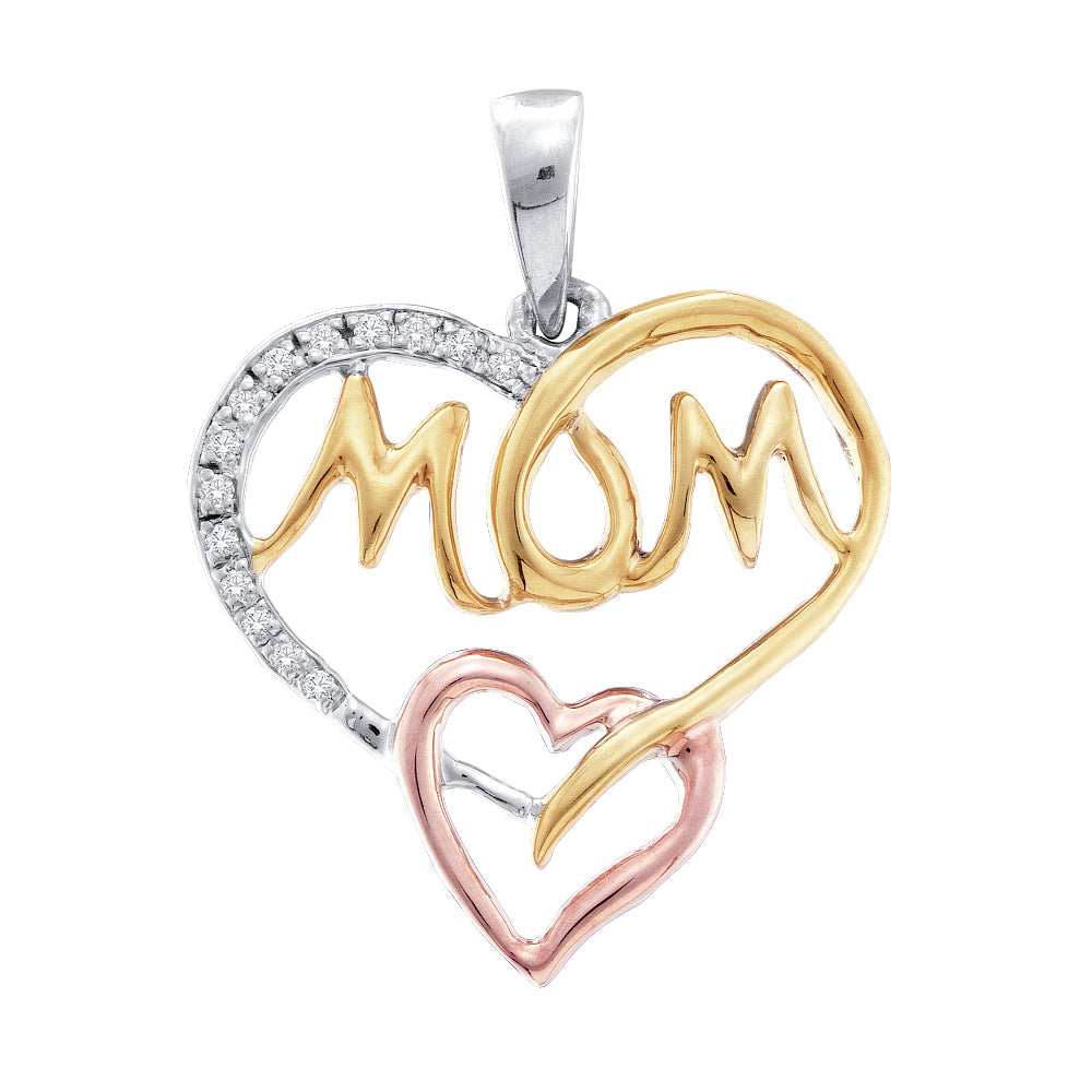 Sterling Silver Womens Round Diamond Tri-tone Mom Mother Heart Pendant 1/12 Cttw