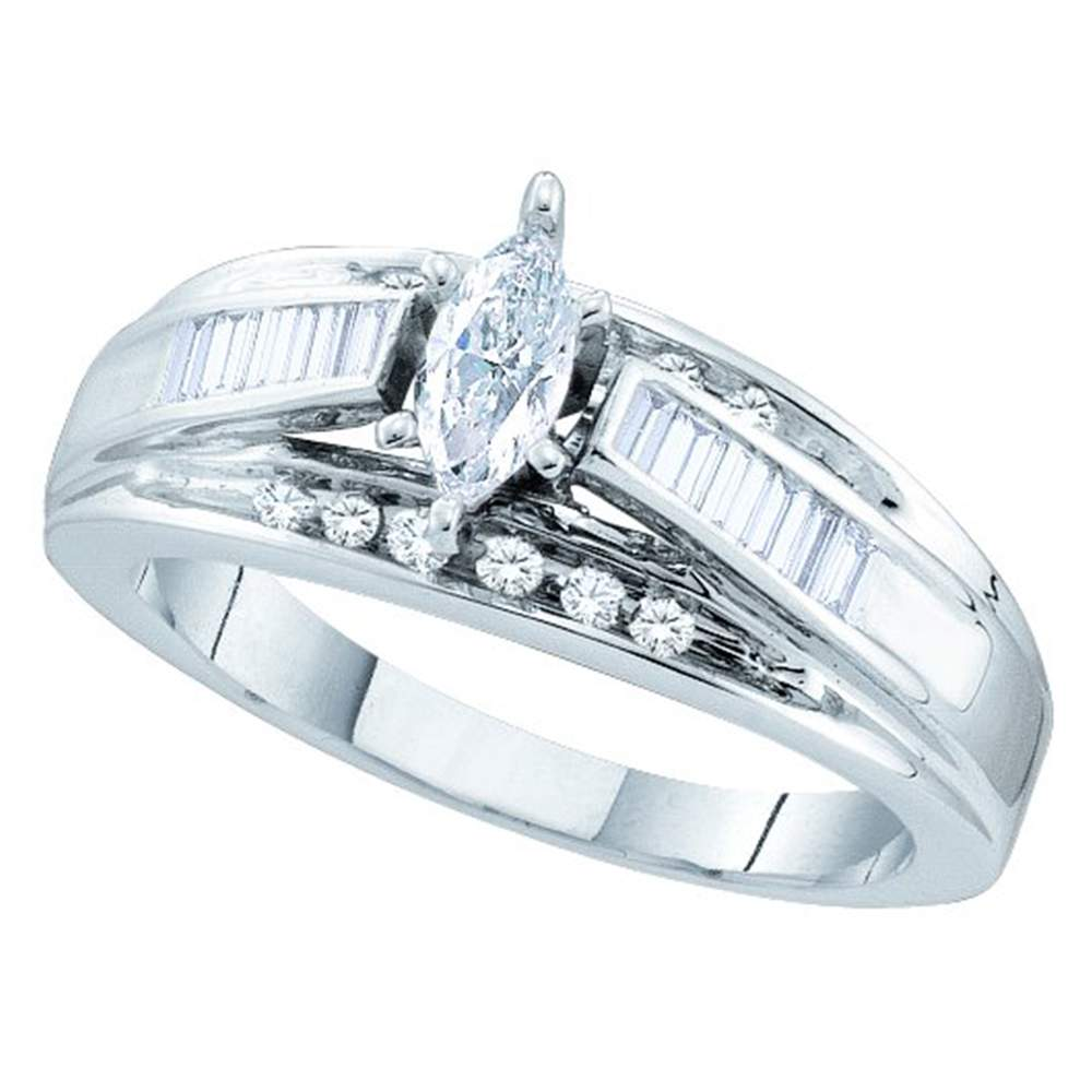 14kt White Gold Womens Marquise Diamond Solitaire Bridal Wedding Engagement Ring 1/2 Cttw