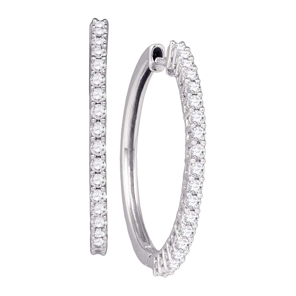 14kt White Gold Womens Pave-set Round Diamond Single Row Hoop Earrings 1.00 Cttw