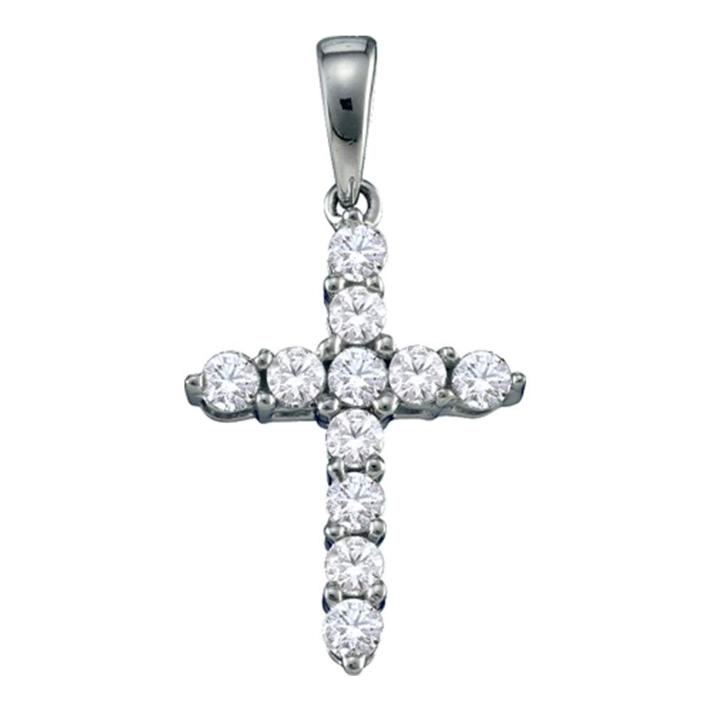14kt White Gold Womens Round Diamond Simple Cross Religious Pendant 1/4 Cttw