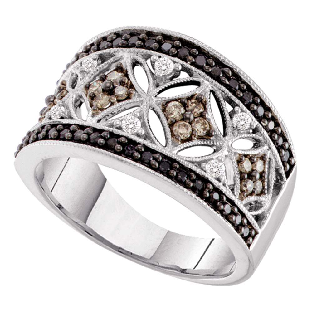 14kt White Gold Womens Round Black Cognac-brown Color Enhanced Diamond Band Ring 1/2 Cttw