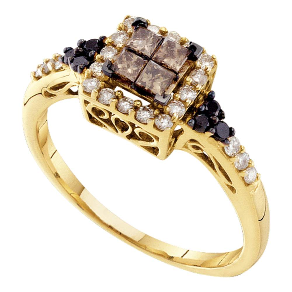 14kt Yellow Gold Womens Princess Cognac-brown Color Enhanced Diamond Cluster Ring 1/2 Cttw