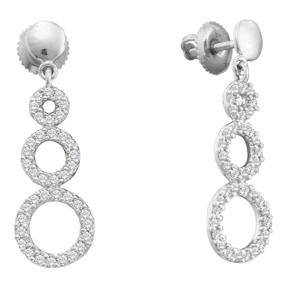 14kt White Gold Womens Round Diamond Triple Circle Dangle Screwback Earrings 3/8 Cttw