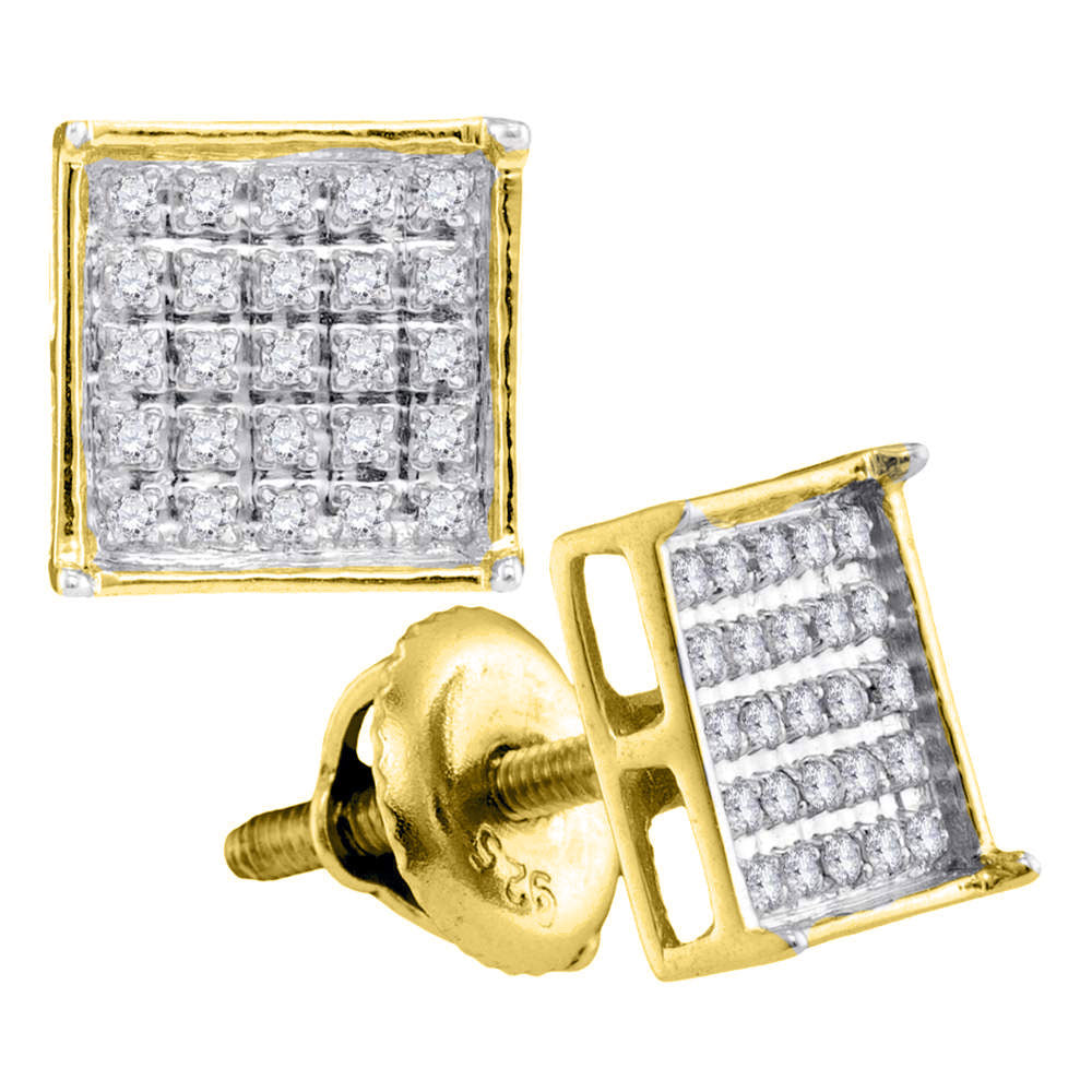 14kt Yellow Gold Unisex Round Diamond Square Cluster Stud Earrings 1/6 Cttw