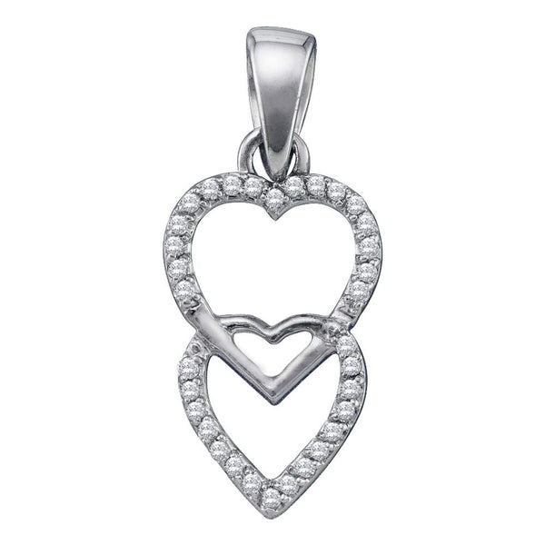 10kt White Gold Womens Round Diamond Double Hanging Heart Pendant 1/10 Cttw
