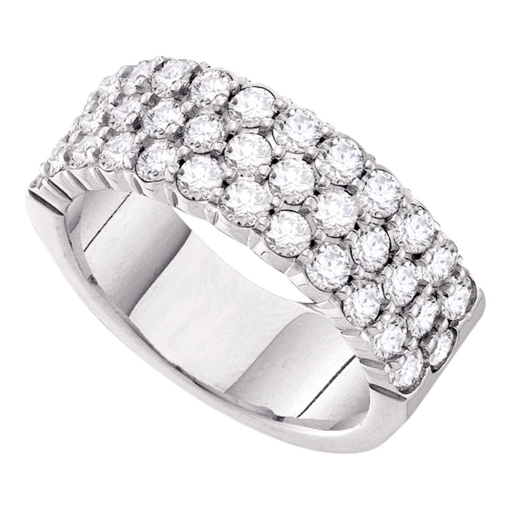 14kt White Gold Womens Round Pave-set Diamond Triple Row Wedding Band 2.00 Cttw