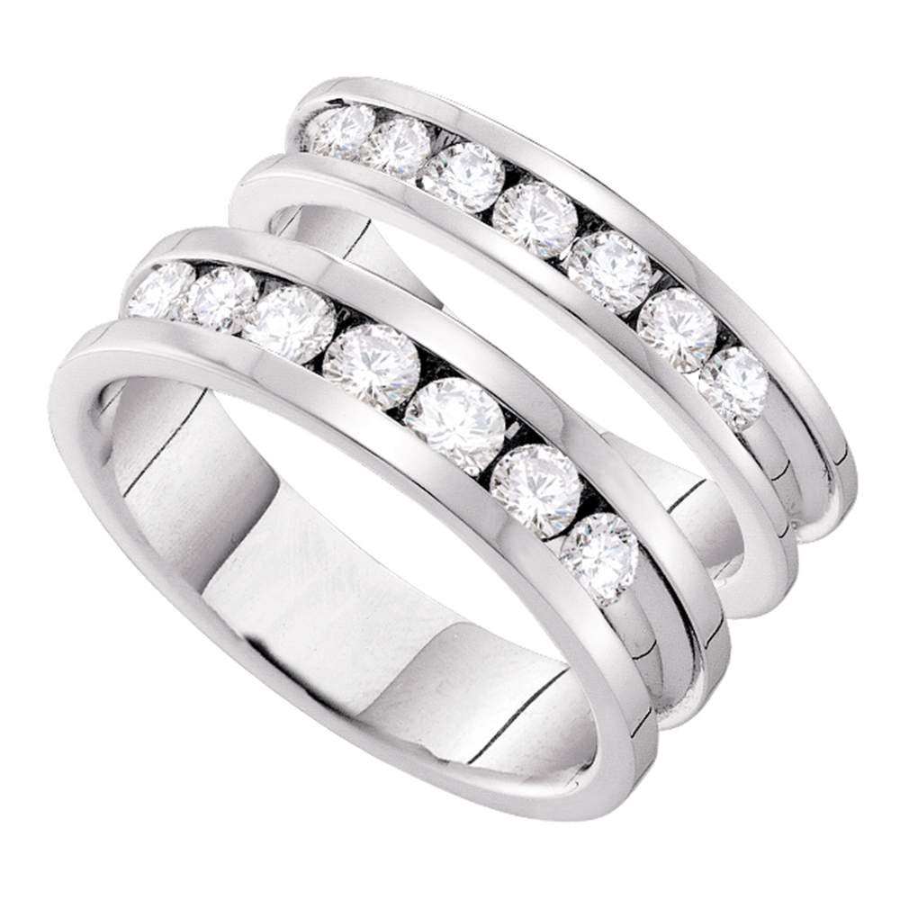 14kt White Gold His & Hers Round Diamond Matching Bridal Wedding Band Set 1-1/2 Cttw