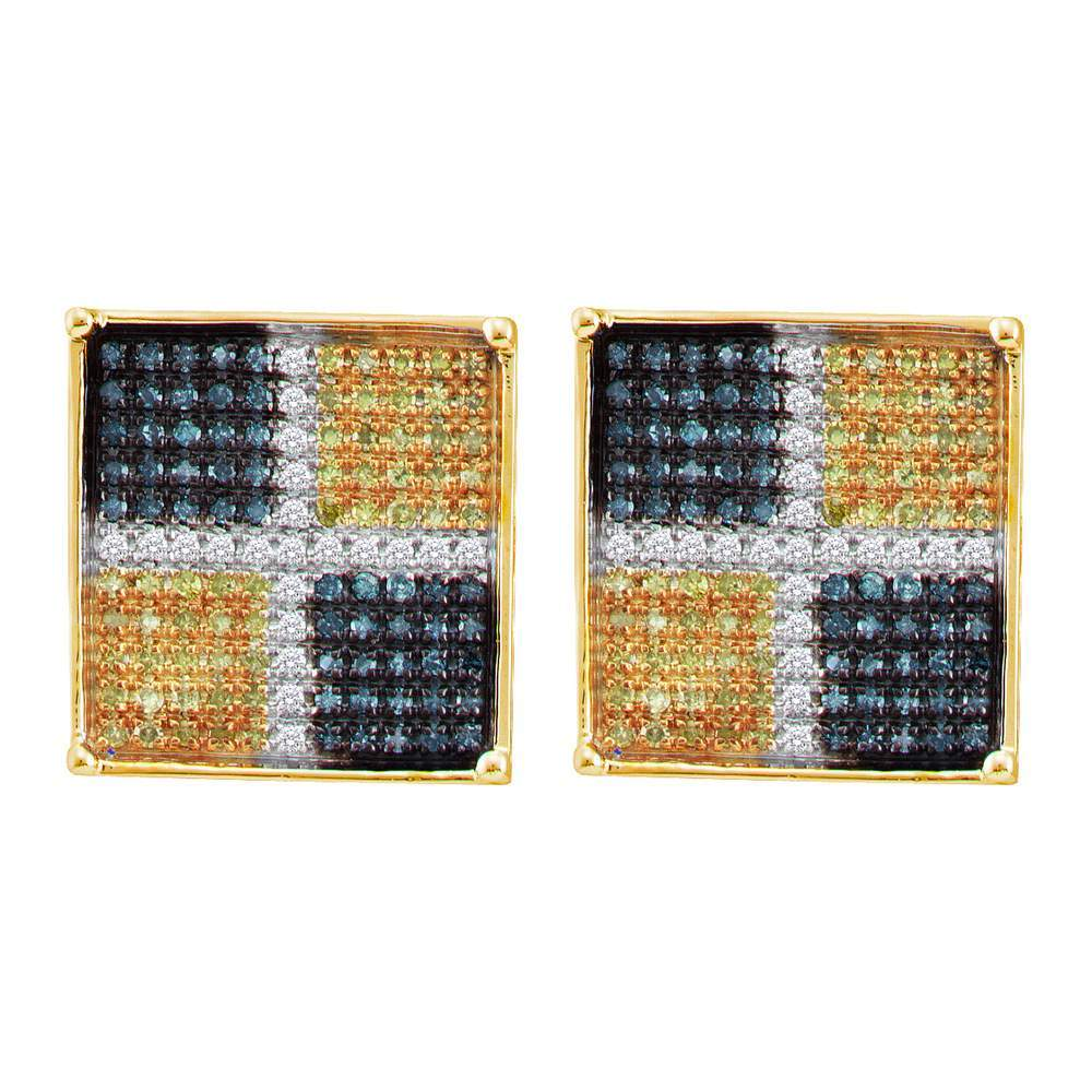 10kt Yellow Gold Mens Round Blue Yellow Color Enhanced Diamond Square Cluster Earrings 1/5 Cttw
