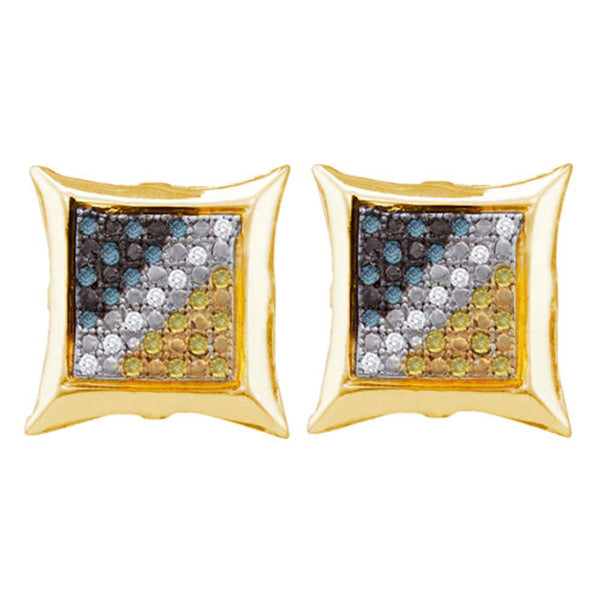 Yellow-tone Sterling Silver Mens Round Blue Yellow Color Enhanced Diamond Cluster Earrings 1/6 Cttw