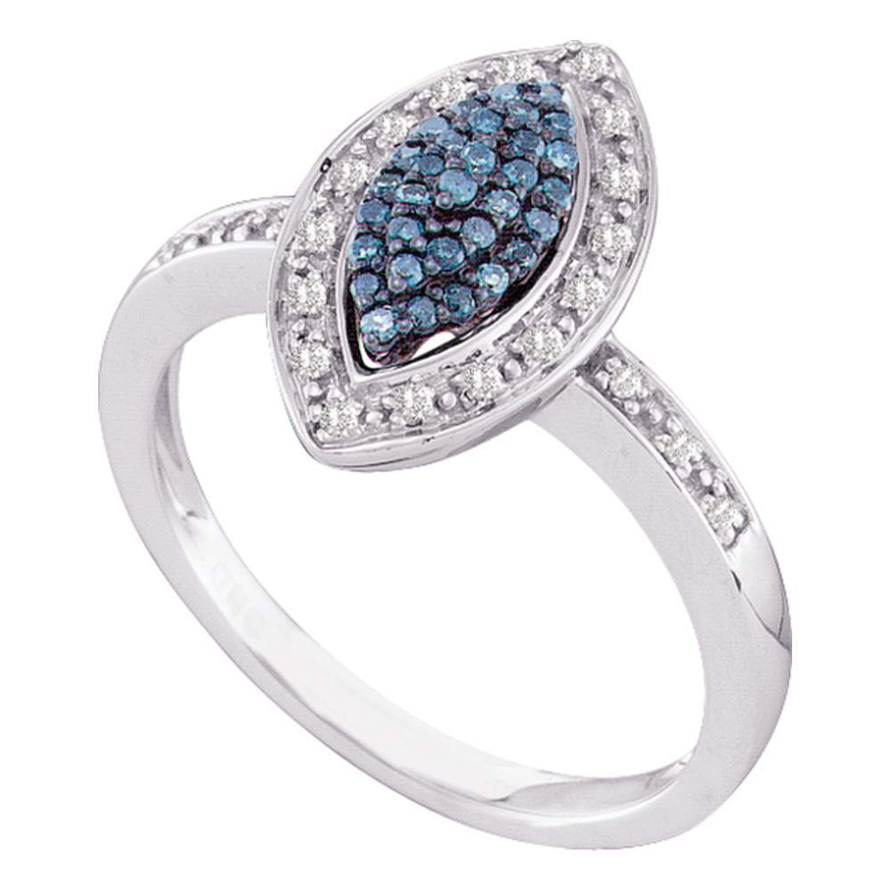 10kt White Gold Womens Round Blue Color Enhanced Diamond Marquise-shape Cluster Ring 1/4 Cttw