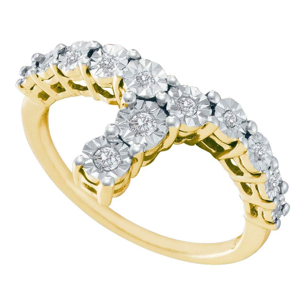 Yellow-tone Sterling Silver Womens Round Diamond Fashion Ring 1/8 Cttw