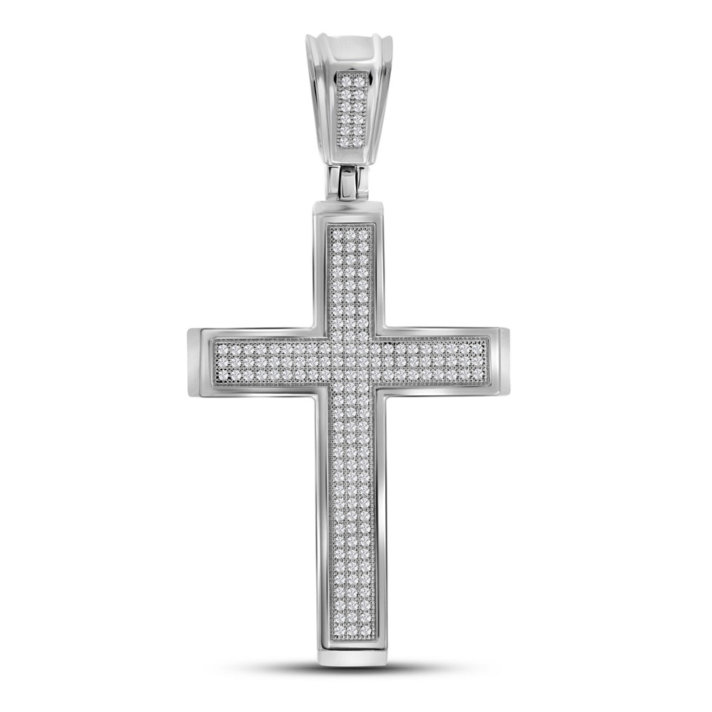 10kt White Gold Mens Round Diamond Roman Cross Charm Pendant 1/2 Cttw