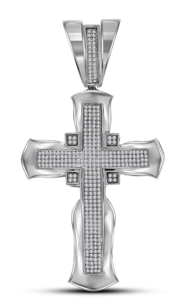 10kt White Gold Mens Round Diamond Flared Cross Crucifix Charm Pendant 1.00 Cttw