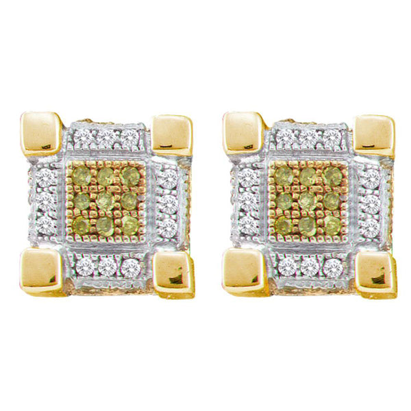 10kt Yellow Gold Mens Round Yellow Color Enhanced Diamond 3D Cube Stud Earrings 1/3 Cttw