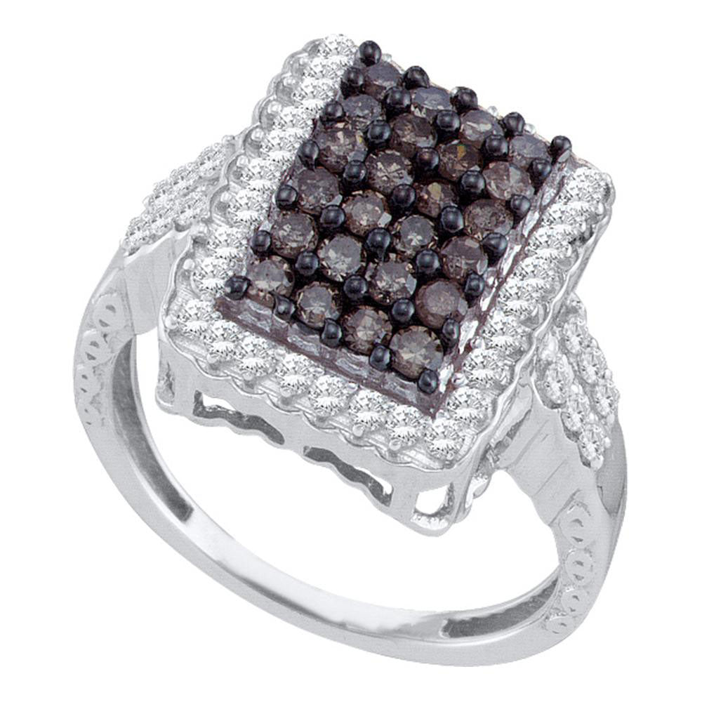 10kt White Gold Womens Round Brown Diamond Rectangle Cluster Ring 1.00 Cttw