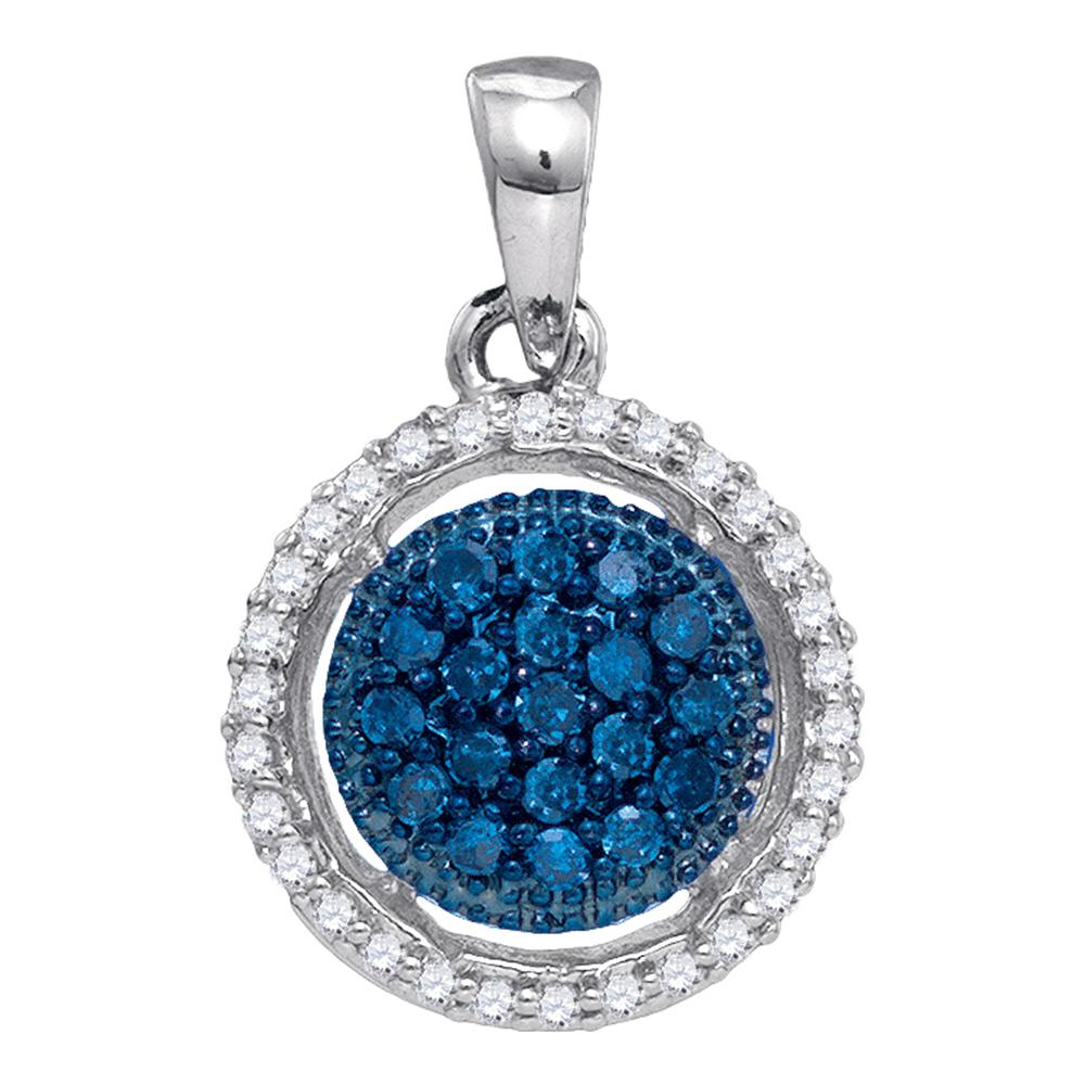 10kt White Gold Womens Round Blue Color Enhanced Diamond Circle Frame Cluster Pendant 1/5 Cttw