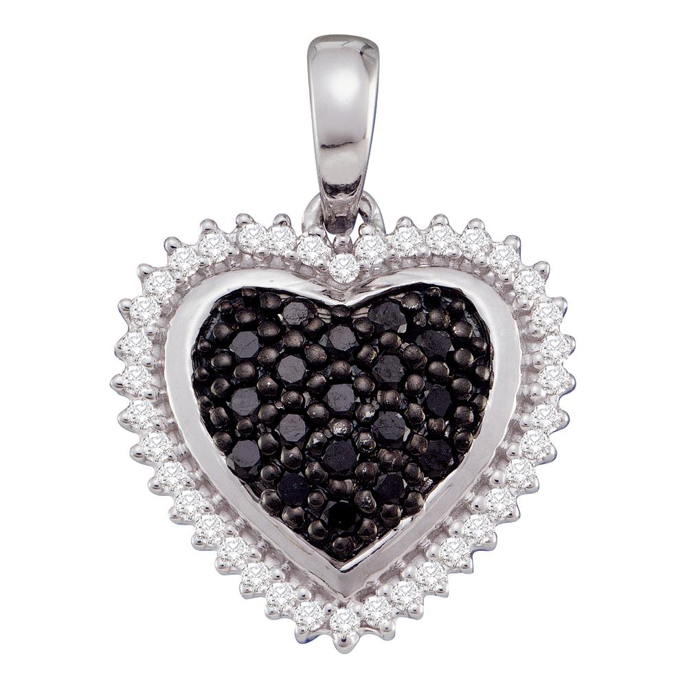 10k White Gold Black Color Enhanced Diamond Womens Cluster Framed Heart Pendant 1/3 Cttw