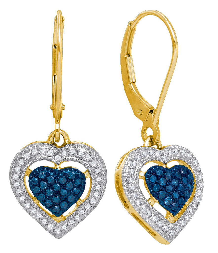 10kt Yellow Gold Womens Round Blue Color Enhanced Diamond Heart Dangle Earrings 3/8 Cttw